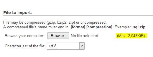 Increase Maximum Upload size of phpMyAdmin in CentOS Web